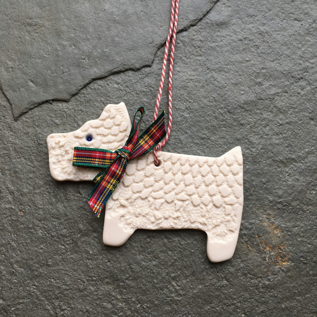 Scottie dog white porcelain decoration, hanging, mobile, The Jewellery Boat
