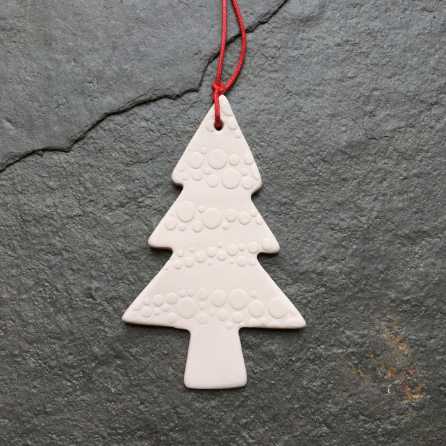 White porcelain Christmas Tree decoration, hanging, The Jewellery Boat