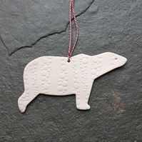 Porcelain polar bear, white, spotty Christmas decoration The Porcelain Menagerie