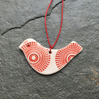 Lovebird red, porcelain, wedding favour, Valentines, Christmas tree decoration
