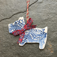 Blue Scottie dog, porcelain Christmas decoration The Porcelain Menagerie