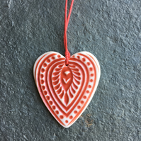 Scandi Folk heart Love gift Decoration red, white hygge The Porcelain Menagerie