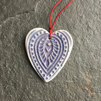 Folk Heart Scandi Porcelain Hygge Christmas Decoration Favour Lilac