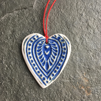Folk Heart Scandi Porcelain pale indigo hygge hanging decoration love favour