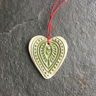 Folk Heart Scandi Porcelain pale green decoration wedding favour