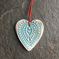 Scandi Folk Heart Aqua Love hug decoration gift The Porcelain Menagerie