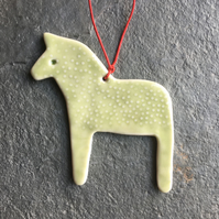 Dala Horse Hygge Christmas Decoration pale green Scandi The Porcelain Menagerie