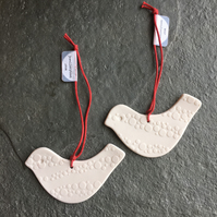 Love Bird White dotted porcelain Christmas decoration favour Quantity 2