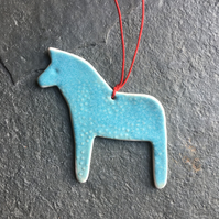 Porcelain Dala Horse Decoration Aqua dotty The Porcelain Menagerie