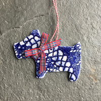 Dark blue Scottie dog, porcelain hanging decoration The Porcelain Menagerie
