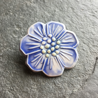 Porcelain wild rose brooch, powder blue and white, The Porcelain Menagerie