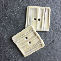 Porcelain buttons, square, set of 2 - parchment, cream size 3cm square