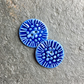 Porcelain buttons, round, set of 2, textured indigo blue floral size: 25mm