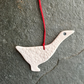 Porcelain white goose, Scandi hanging decoration, The Porcelain Menagerie