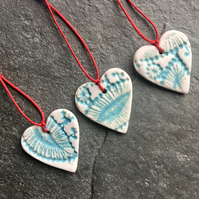 Mini Folk Heart Decorations, set of three, aqua glaze The Porcelain Menagerie