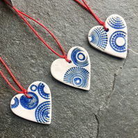 Mini Folk Heart Decorations, set of 3, indigo glaze The Porcelain Menagerie