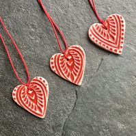 Mini Folk Heart Decorations, set of three, red glaze The Porcelain Menagerie (3)
