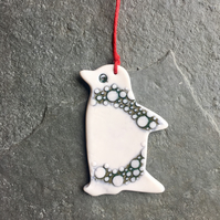 Porcelain Penguin, hanging decoration, blue green spotty,The Porcelain Menagerie