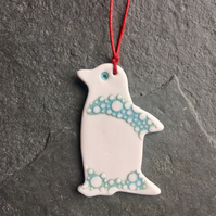 Porcelain Penguin, hanging decoration, aqua white spotty,The Porcelain Menagerie