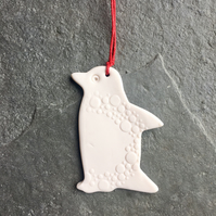 Porcelain Penguin, hanging decoration, white spotty, The Porcelain Menagerie