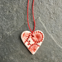Mini Folk Heart Decoration - one heart, red and white The Porcelain Menagerie