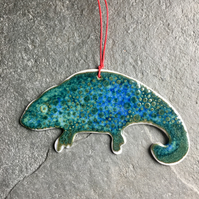 Porcelain chameleon Christmas decoration blue green The Porcelain Menagerie