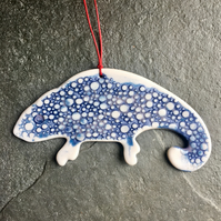 Porcelain chameleon Christmas decoration Indigo white The Porcelain Menagerie
