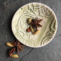 Porcelain bowl, dipping, olive bowl, pale green glaze The Porcelain Menagerie