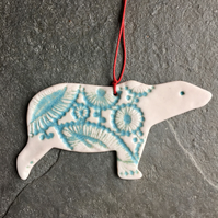 Polar Bear Christmas Tree decoration glazed, aqua white The Porcelain Menagerie