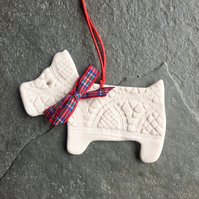 West Highland Terrier, Christmas decoration Stewart tartan Porcelain Menagerie