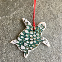 Tiny Turtle fine white porcelain hanging decoration The Porcelain Menagerie