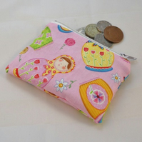 Pink Russian Dolls Fabric Coin Purse - Free P&P