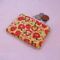 Funky Apples Fabric Coin Purse - Free P&P