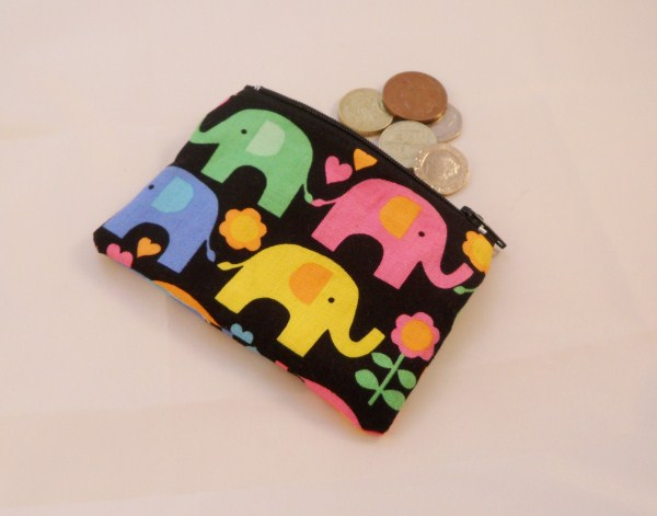 Funky Elephant Fabric Coin Purse - Free P&P