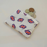 White Union Jack Flag Fabric Coin Purse - Free P&P