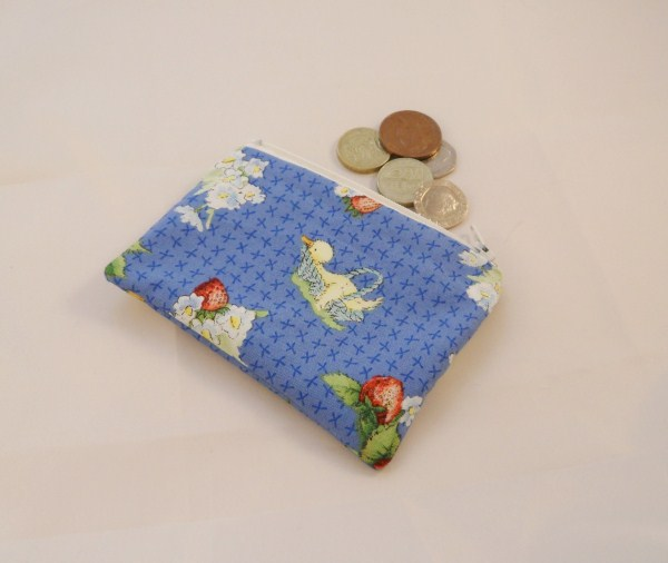Ducks and Strawberries Fabric Coin Purse - Free P&P