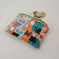Orange Owls Fabric Coin Purse - Free P&P