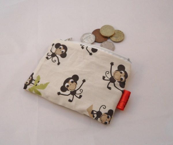 Little Monkies Fabric Coin Purse - Free P&P