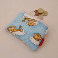 Cloud Monkies Fabric Coin Purse - Free P&P