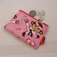 Karate Monkies Fabric Coin Purse - Free P&P