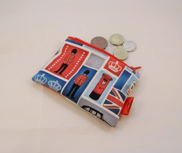 Red White and Blue London Icon Fabric Coin Purse - Free P&P