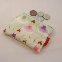 Beautiful Ballerina Fabric Coin Purse - Free P&P