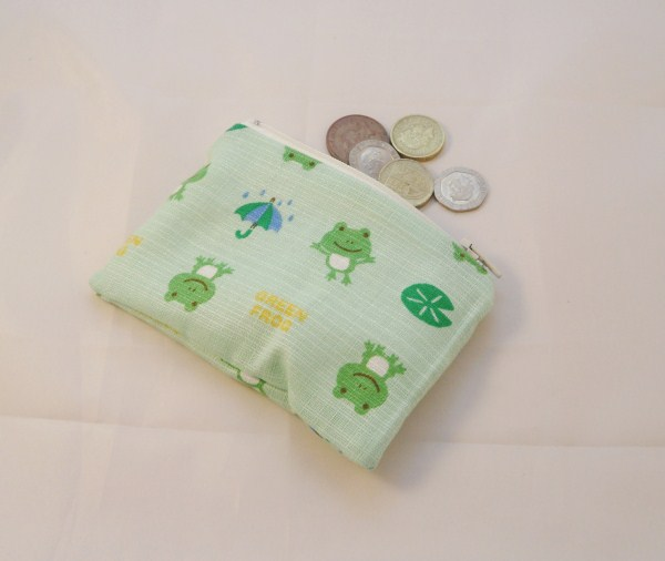 Green Frog Fabric Coin Purse - Free P&P