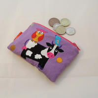 Purple Cow Fabric Coin Purse - Free P&P