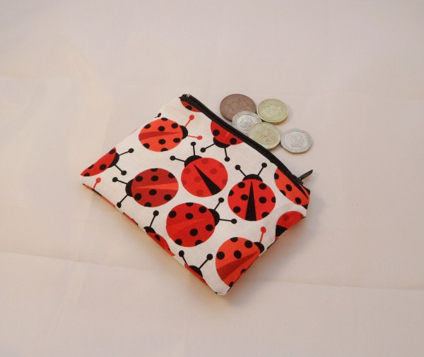 Large Ladybird Fabric Coin Purse - Free P&P