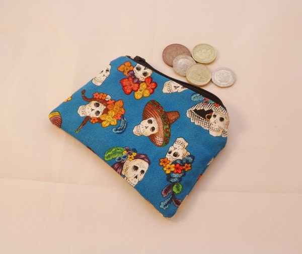 Tropical Blue Fabric With Skulls  Coin Purse - Free P&P