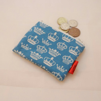 Blue Crowns Fabric Coin Purse - Free P&P