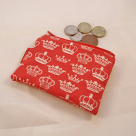 Red Crowns Fabric Coin Purse - Free P&P