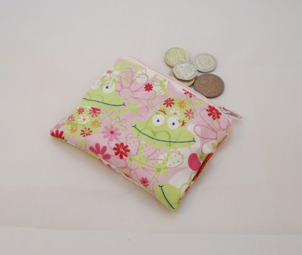 Pink and Green Cartoon Frogs Fabric Coin Purse - Free P&P