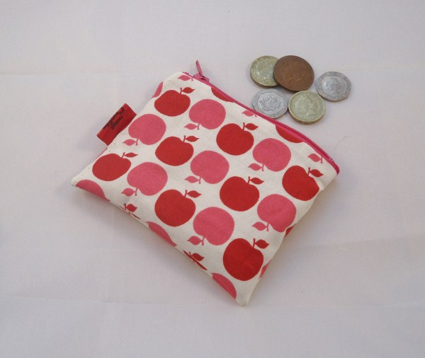 Large Apples Fabric Coin Purse - Free P&P